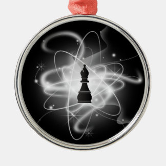Black & White Retro Atomic Chess Piece - Bishop Metal Ornament