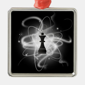 Black & White Retro Atomic Chess Piece - Queen Square Metal Christmas Ornament
