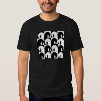 Black White Retro Chess Horses Design T Shirt