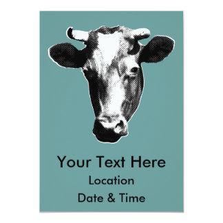 Black & White Retro Cow Graphic Card