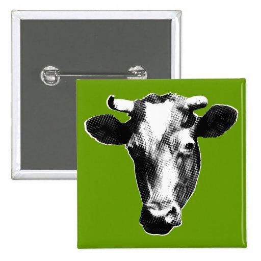 Black & White Retro Cow Graphic Pinback Button