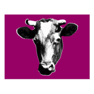 Black & White Retro Cow Graphic Postcard