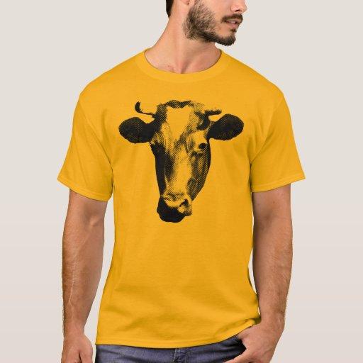 Black & White Retro Cow Graphic T-Shirt