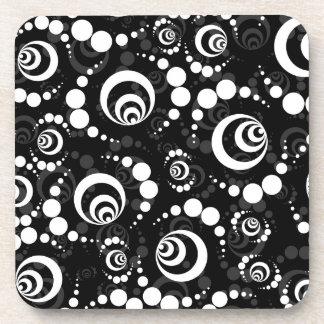 Black White Retro Crop Circles Coaster