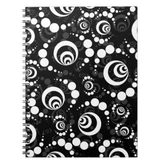 Black White Retro Crop Circles Notebook