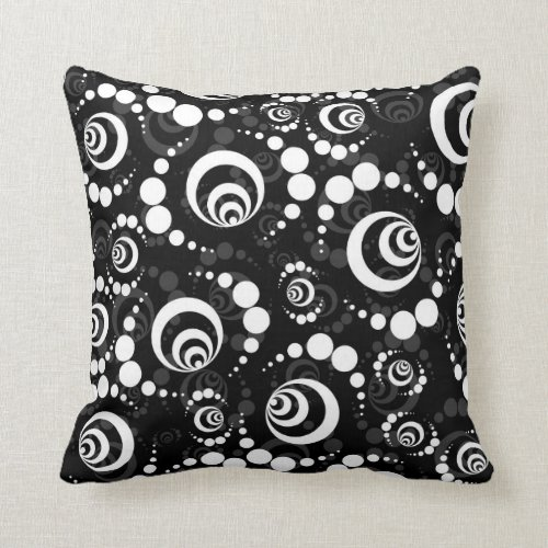 Black White Retro Crop Circles Throw Pillow