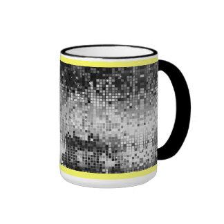 Black & White Retro DiscoBall Mirrors Pattern Ringer Mug