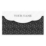 Black & White Retro Floral Dot Pattern Business Card Template
