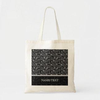 Black & White Retro Floral Pattern Budget Tote Bag