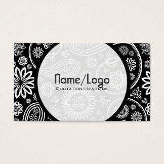 Black & White Retro Flower Paisley-Template Business Card