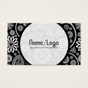 Professional Business Black & White Retro Flower Paisley-Template Business Card