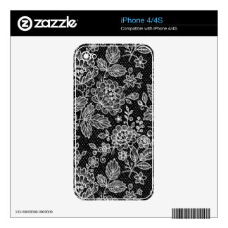 Black & White Retro Flowers Shading Pattern iPhone 4 Decal