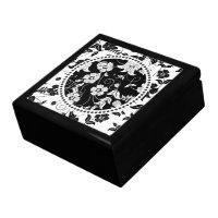 Black & White Retro Flowers & Swirls 2 giftbox