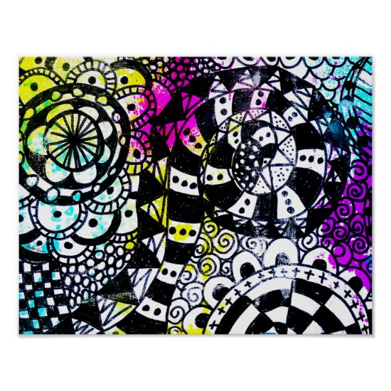 Black White Retro Geometric Doodle Whimsical Fun Poster