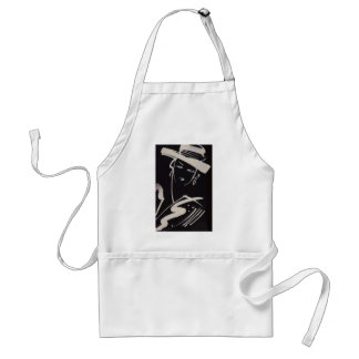 Black & White Retro High Fashion Sketch Adult Apron