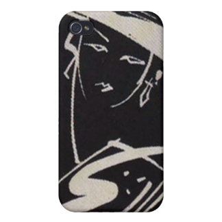 Black White Retro High Fashion Sketch Case For iPhone 4