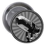 Black & White Retro Microphone Emblem 3 Inch Round Button