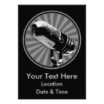 Black & White Retro Microphone Emblem Custom Announcements