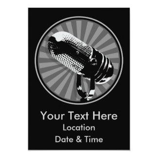 Black & White Retro Microphone Emblem 5x7 Paper Invitation Card
