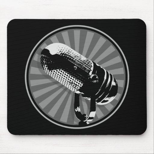 Black & White Retro Microphone Emblem Mouse Pads
