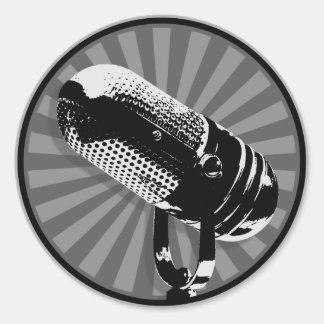 Black & White Retro Microphone Emblem Stickers