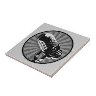 Black & White Retro Microphone Emblem Tiles