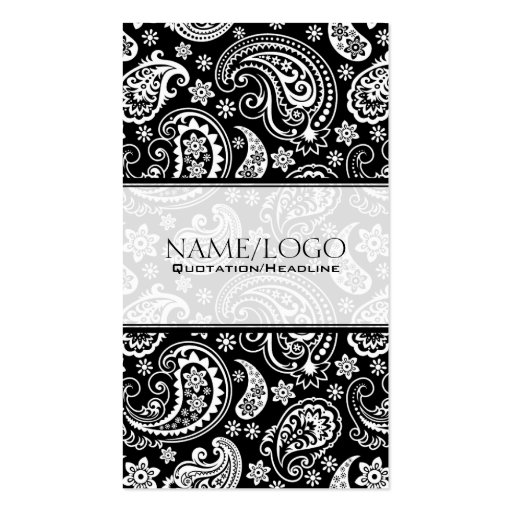 Black & White Retro Paisley Pattern 2 Design Business Cards