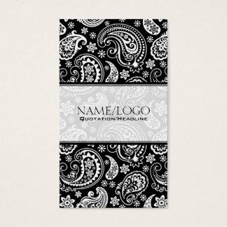 Black & White Retro Paisley Pattern 2 Design Business Card