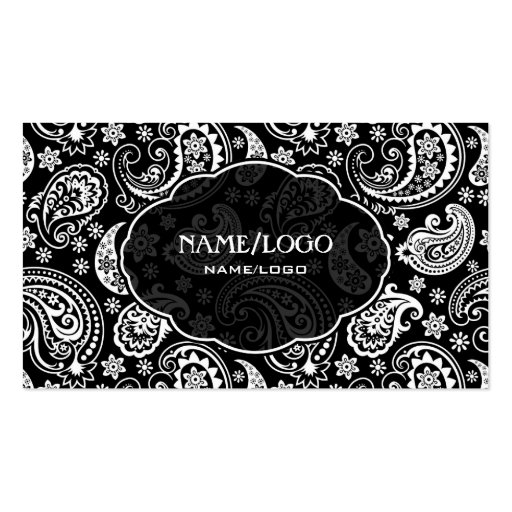 Black & White Retro Paisley Pattern 3 Design Business Card Template