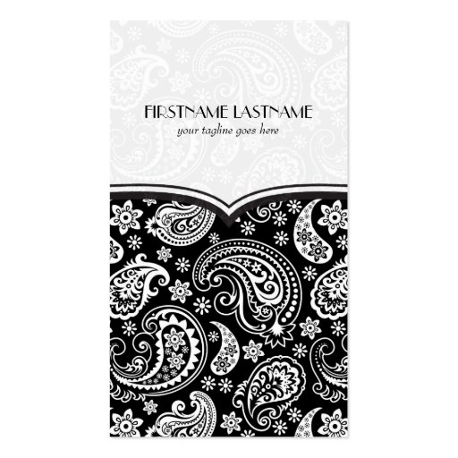 Black & White Retro Paisley Pattern 4 Design Business Card Template