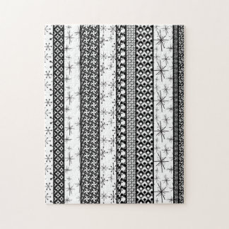Black & White Retro Pattern Stripes 1 Jigsaw Puzzle
