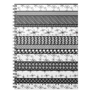 Black & White Retro Pattern Stripes 1 Notebook
