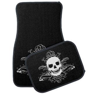 Black & White Retro Skull Car Floor Mat