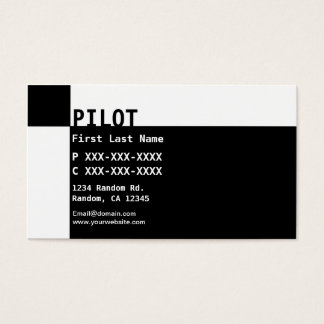 Black white reverse PILOT business cards