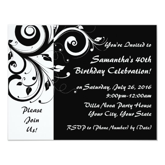 Blackwhite reverse swirl 40th party invitations zazzle blackwhite reverse swirl 40th party invitations filmwisefo Image collections