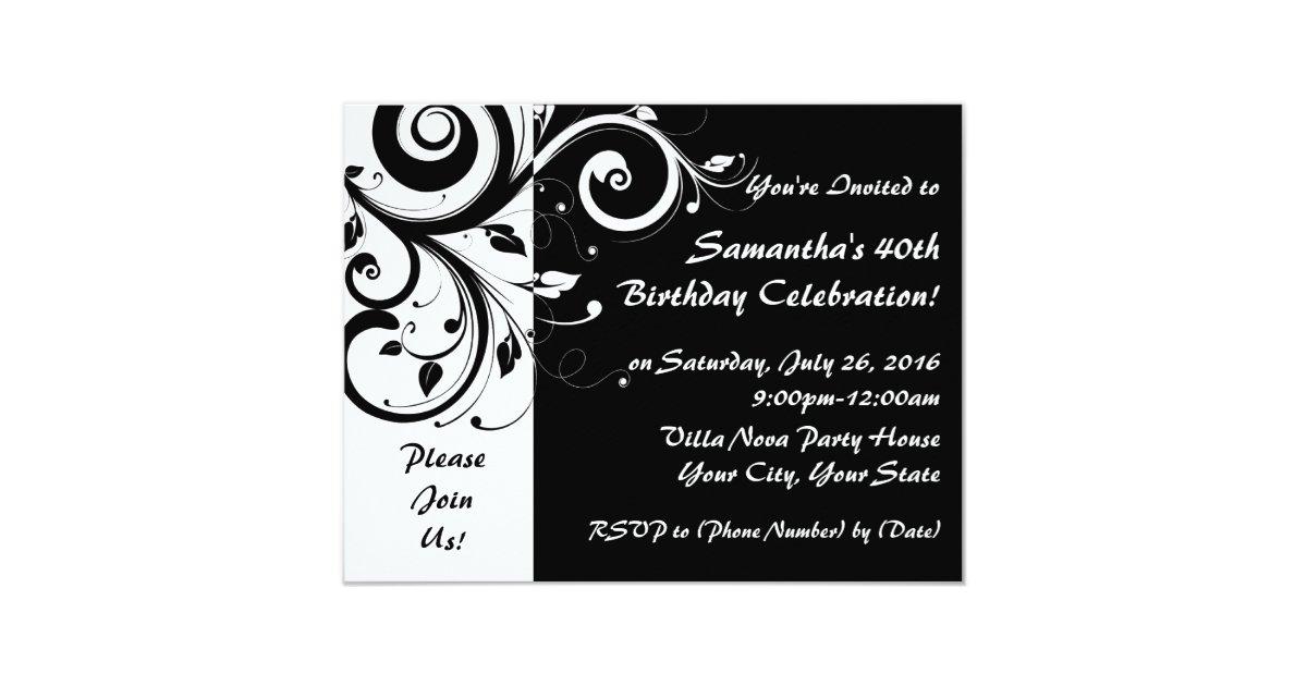 Black+White Reverse Swirl 40th Party Invitations | Zazzle.com