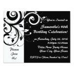 Black+White Reverse Swirl 40th Party Invitations