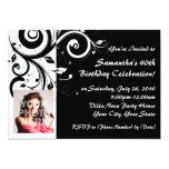 Black+White Reverse Swirl 40th Photo Invitations