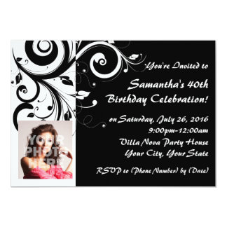 Black+White Reverse Swirl 40th Photo Invitations