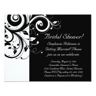 Black, White, Reverse Swirl Bridal Shower/ General 4.25x5.5 Paper Invitation Card
