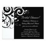 "Black, White, Reverse Swirl Bridal Shower/ General 4.25"" X 5.5"" Invitation Card"