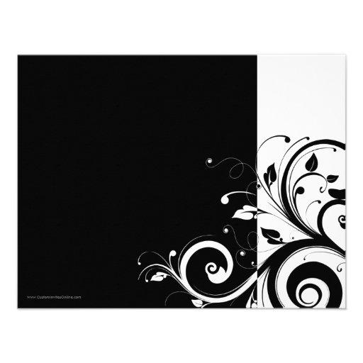 Black+White Reverse Swirl Party Invitations (back side)