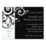 Black+White Reverse Swirl Party Invitations