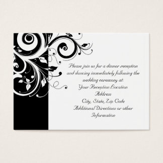 Black + White Reverse Swirl Reception and Map Card