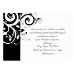 Black + White Reverse Swirl Reception and Map Card Business Cards