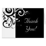 Black + White Reverse Swirl Thank You Cards