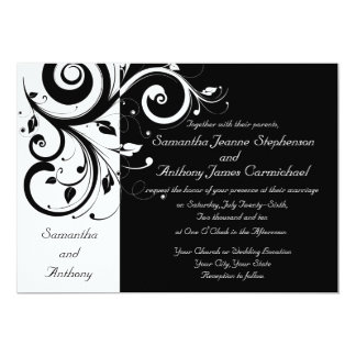 Black + White Reverse Swirl Wedding Invitations