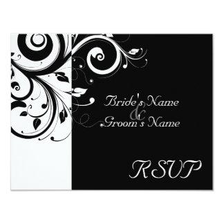 Black +White Reverse Swirl Wedding Matching RSVP 4.25x5.5 Paper Invitation Card