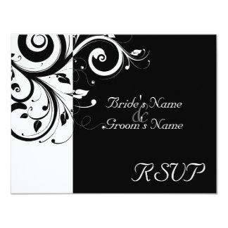 Black +White Reverse Swirl Wedding Matching RSVP Card