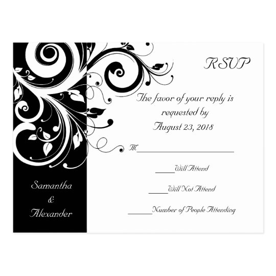Black +White Reverse Swirl Wedding RSVP Postcard